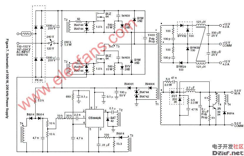 基于uc3842的大功率正激开关电源电路