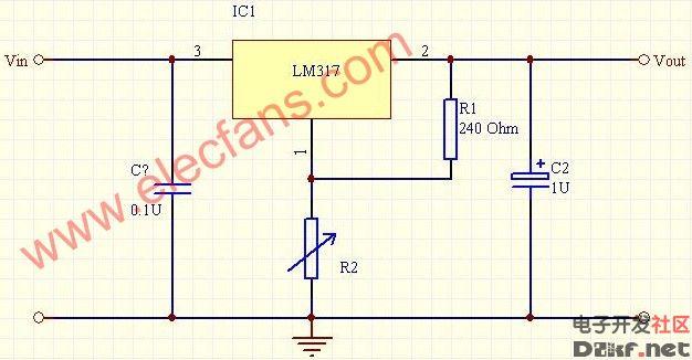三端lm317稳压输出电压计算-电路图