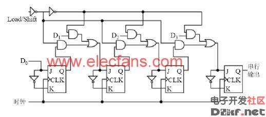 jk并行输入/串行输出移位寄存器-电路图