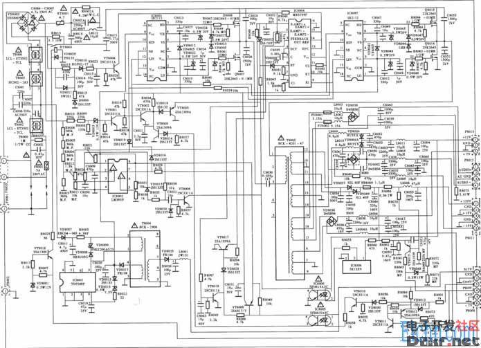 tcl王牌rpt4302型背投彩电电源电路