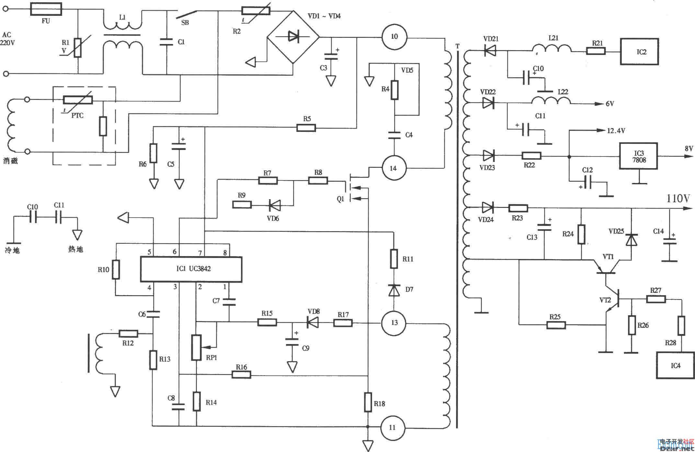 联想lx-pl4c2型彩显开关电源(uc3842)
