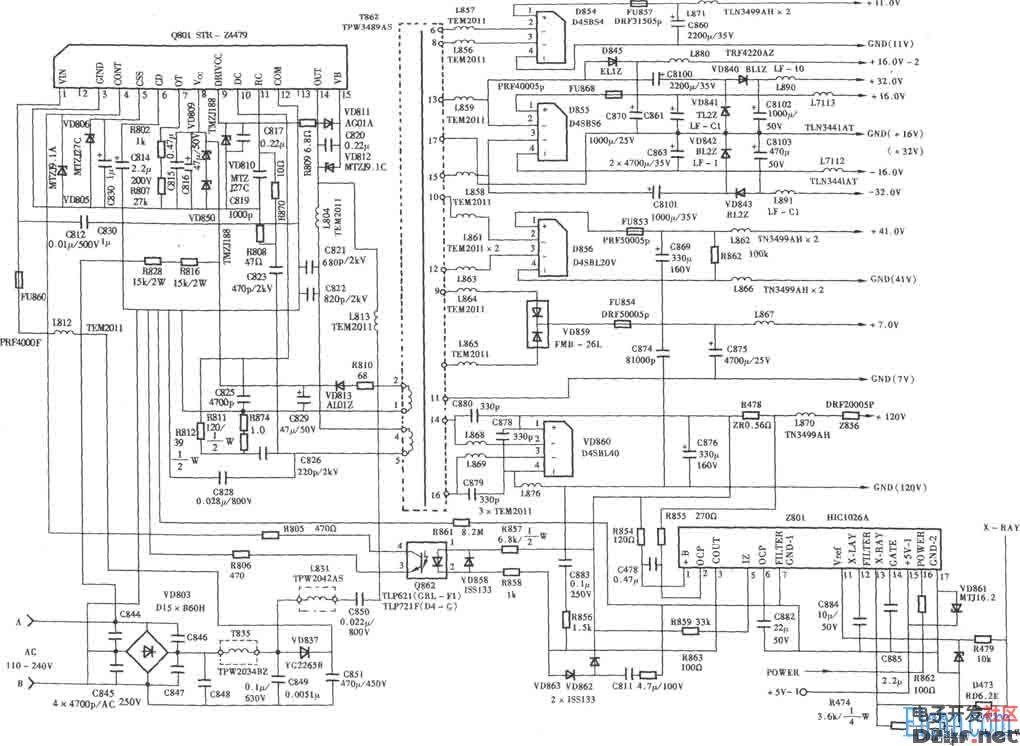 东芝ag系列背投彩电电源电路