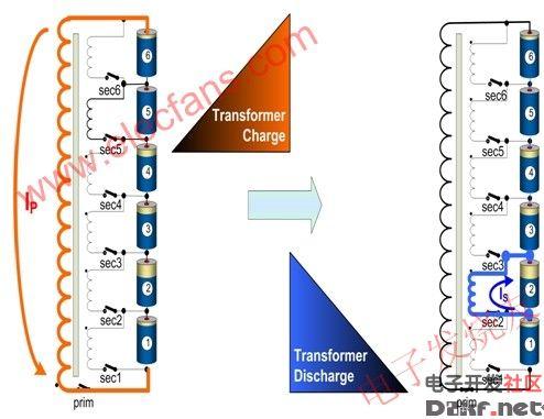锂电池组的主动充电均衡-电路图