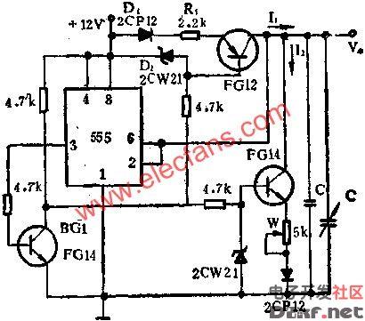 时基集成电路构成多种波形发生器电路图