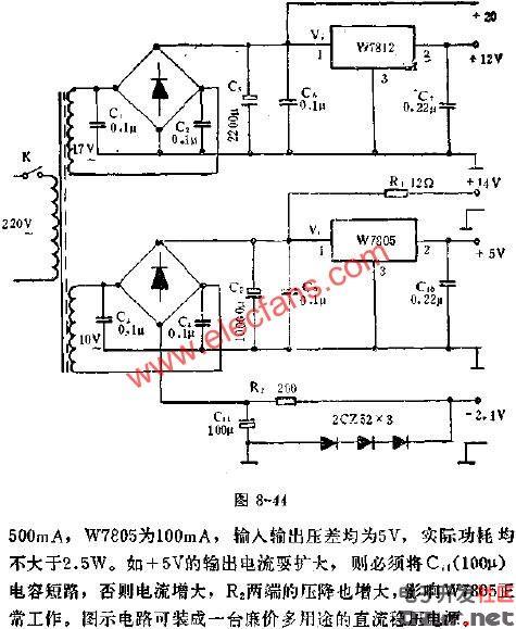 w7812集成稳压器组成的多用途稳压电流应用