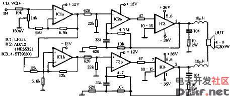 用stk6303的300w功放电路原理图