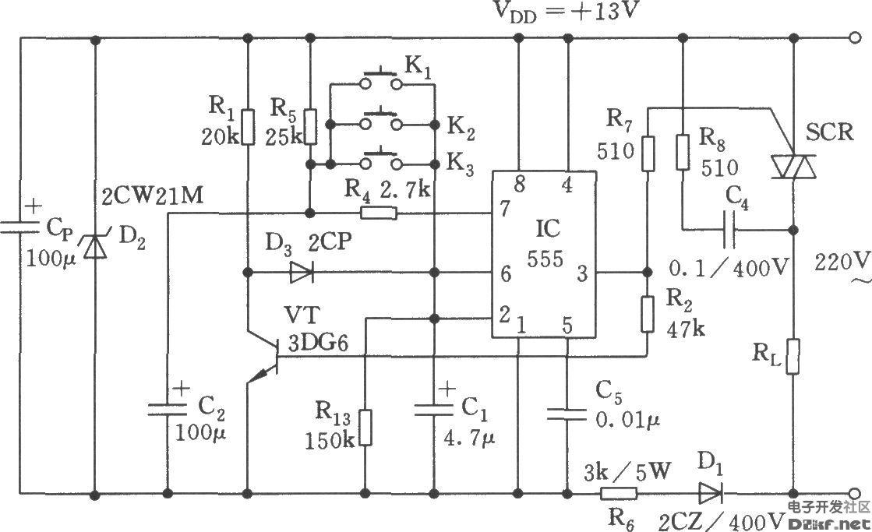 如图所示,开关电路包括降压整流电路、双稳态触发电路和可控硅控制电路。用于对电器设备实现遥控开机或关机。降压整流电路为控制器提供 13V的直流电压。555和R5、R4、R13、C1、C2等组成双稳触发电路。刚接通电源时,由于C1上电压不能突变,使555置位,C2通过R5充电至l2V。此时若按一下K1(K2或Ks),则C1很快充电至2/3 VDD=8V,555复位,3脚转呈低电平,SCR截止。同时,VT截止,555的6脚呈高电平,使555处于稳定的复位状态。如再按一下K1(K2或Ks),又使555处于置位状