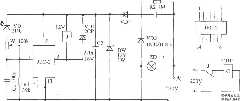 电源由市电经阻容降压后再经整流供给,线路简单,而且功耗低.