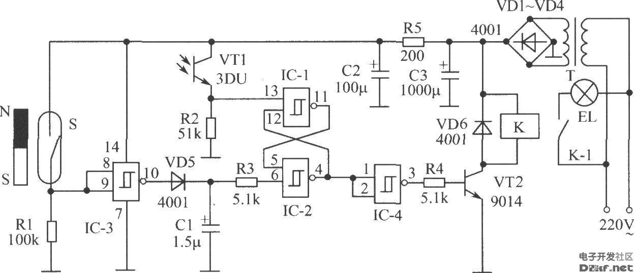 光敏三极管构成的门控电灯开关电路