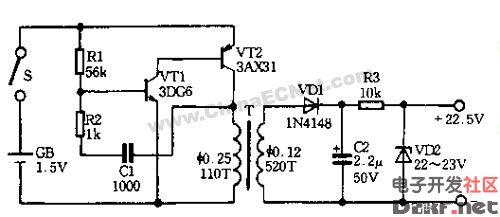 适合万用表使用的直流升压器-电路图