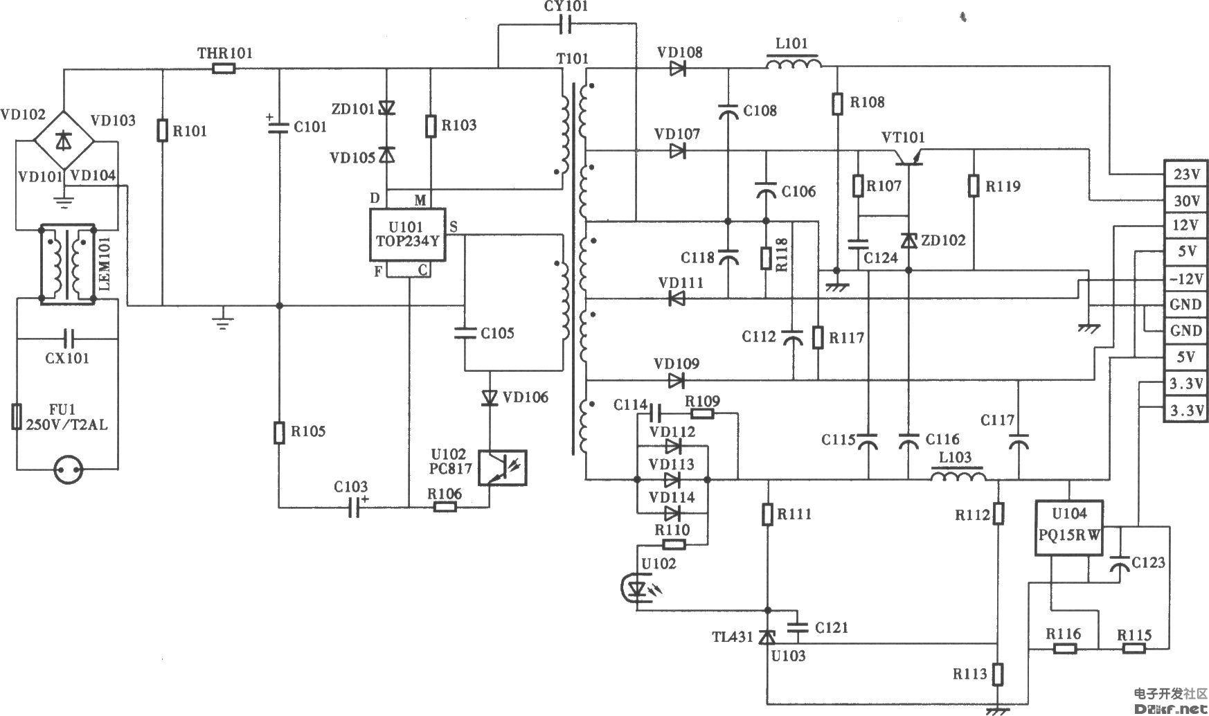 同洲cdvbc2200b型数字有线电视机顶盒电源电路