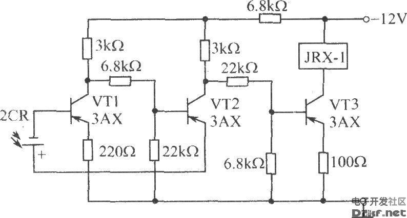 硅光电池光组成的触发开关电路-电路图