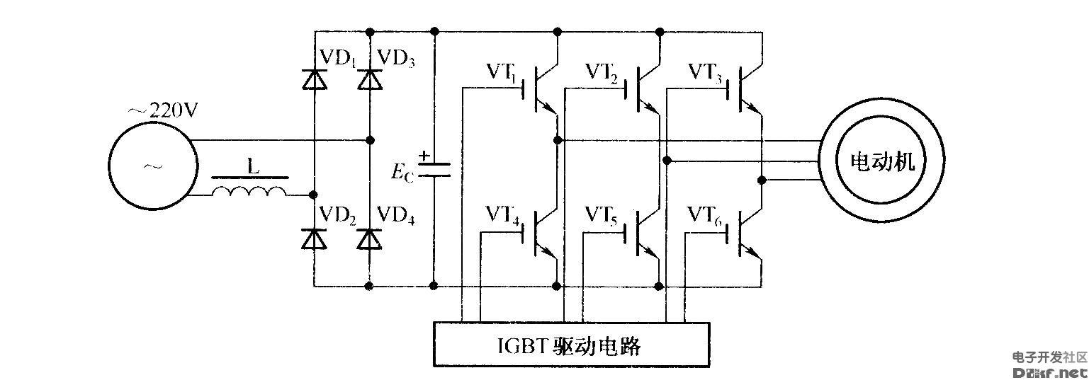 变频器的控制驱动主电路的原理图