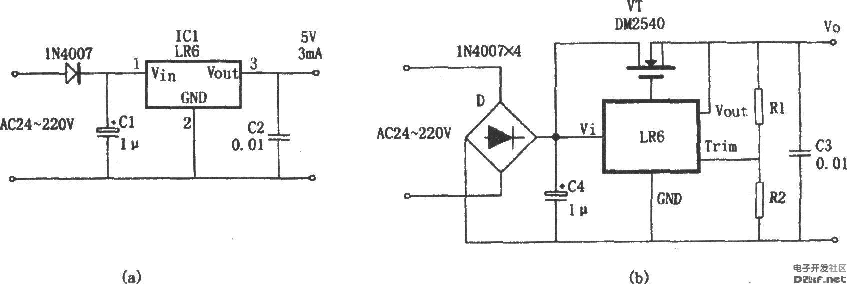 由lr6构成的不用变压器的稳压电源-电路图