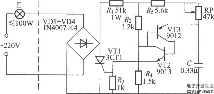 普通三极管触发的单向晶闸管调光灯电路