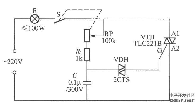 采用双向触发二极管的双向晶闸管调光灯电路图片