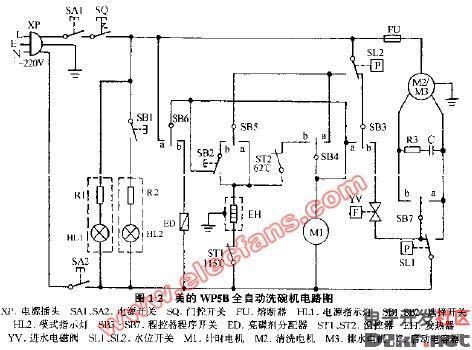 上图为美的wp5b全自动洗碗机电路图,xp为电源插头,sa1,sa2为电源开关