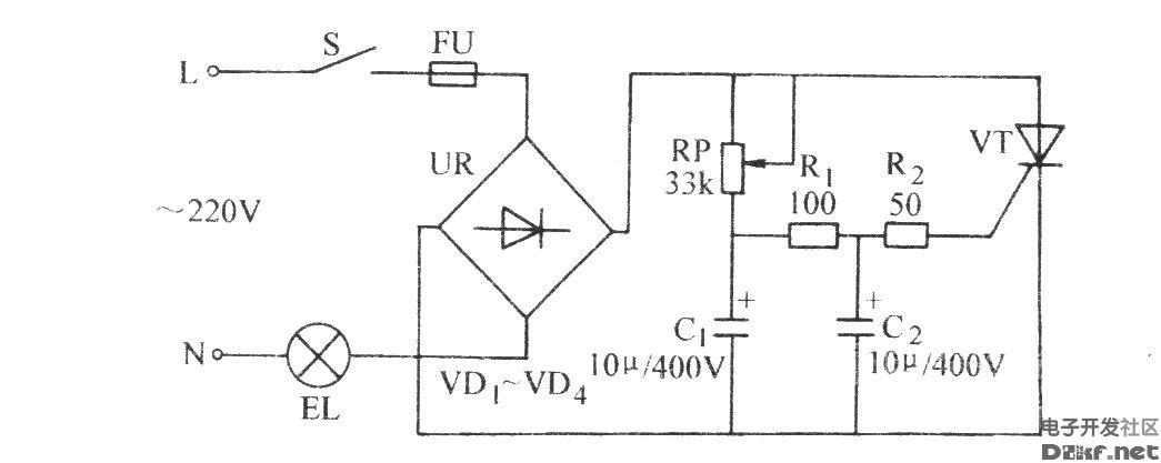 普通晶闸管调光电路图片