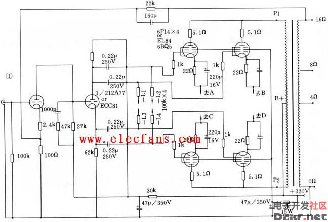 6p14单端胆机电路图图片