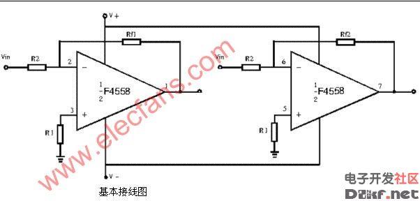 技术资料 电路图 音频电路 f4558基本接线图  来源: a href='http