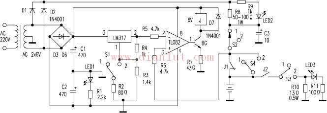 tl082构成比较电路,其2脚由lm317输出提供一个恒定电压作为参考基准,3