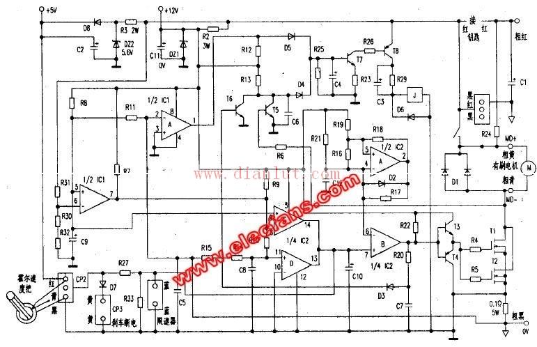 有刷电动车控制器原理图-电路图