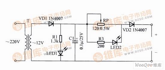 220v市电经变压器t降压至12v,由vd1整流产生脉动电流,对电池充电.