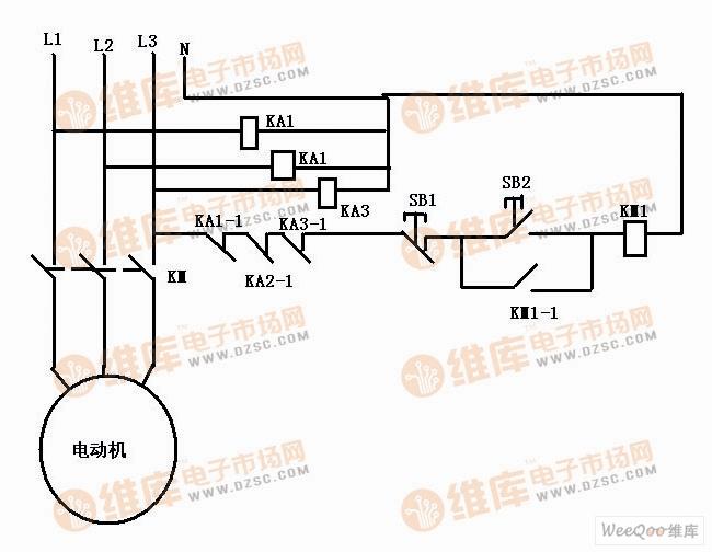 用3个继电器控制电动机断相保护电路图