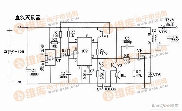 电子灭�yfj_直流电子灭鼠器电路图