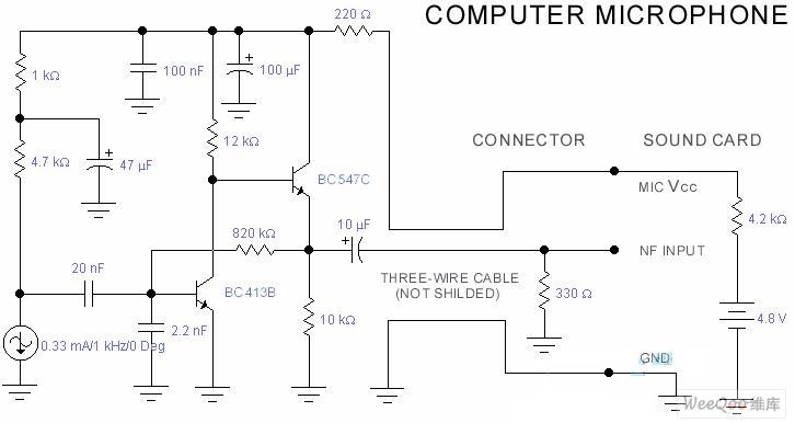 电脑的麦克风电路以及jfet-mosfet耳机功放电路图