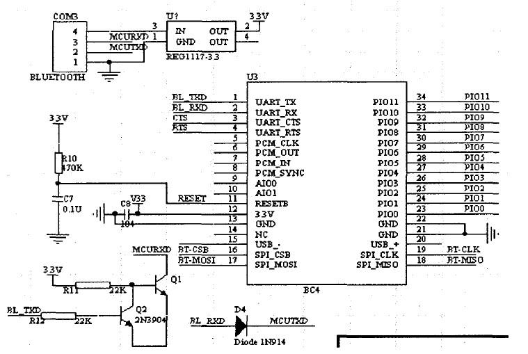 藍牙模塊的電路原理圖圖片