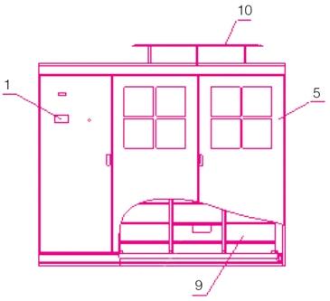 结构示意图,包括控制单元1,变频功率单元腔2,切换单元3,变压器单元腔4