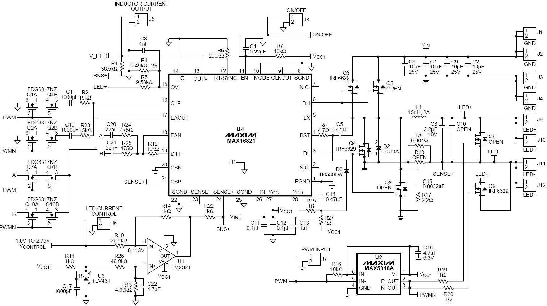 图2. led驱动器电路板原理图图片