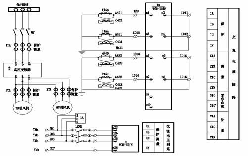 炉7#,8#引风机综保原理接线图(部分)
