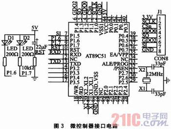 2 微控制器接口電路   微控制器接口電路設計如圖3所示.