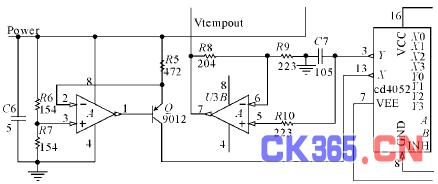 转换电路包括一个阻容充放电电路,模拟选通开关(cd74hc4052),msp430fw