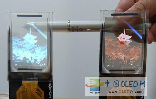 tdk在今年的ceatec商業展示了兩款透明pmoled顯示器,透明度達50%圖片