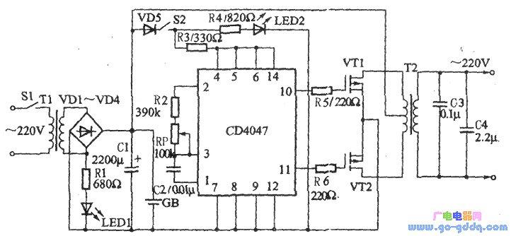 采用cd4047构成的逆变电源电路