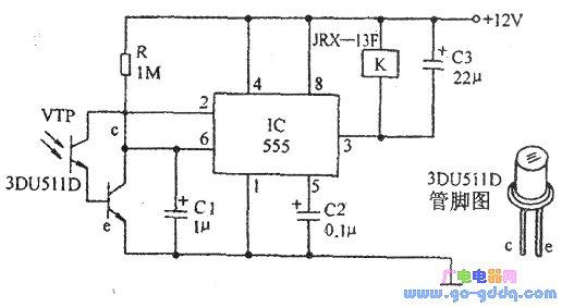 采用时基555集成电路和光敏晶体管构成的光控电路