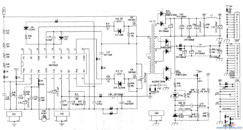 (1)基本工作过程 当主板CPU给电源板送来开机信号后,控制电路会将供电VCC送到U5的脚,脚输入的供电被内部电路检测到为正常时,启动电路启动,稳压电路产生各种工作供电,同时,Ul的脚输入的电压被内部电路检测到为正常时,主逻辑电路使振荡电路开始振荡,经过软启动电路延时之后,振荡产生的信号分别经过高端和低端驱动电路的驱动,送往Q9、Q8、T4、T5等元件组成的功率输出电路,进行DC-DC变换。 (2)稳压工作过程 当由于某些原因使得D12整流、C60滤波(12V)或D13整流、C63滤波(24V)输出