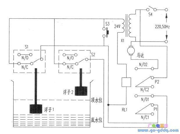 电路工作很简单:当水箱中的水位降落至箱底时