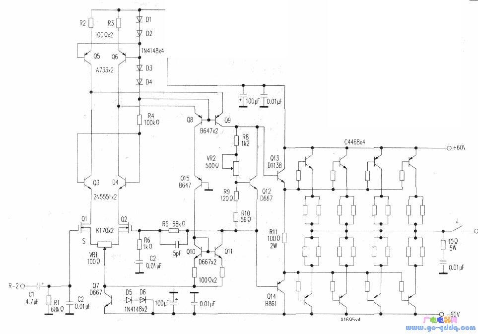 Ql0为Q15恒流源负载。由Qll推动第一级达林顿管Q14。Q12为末级放大管静态电流调整管。  该机电路大量使用恒流电路,提高了电路的稳定性。推动电路大量使用了日立名管D667/B649。该机末级电流放大由4对三肯大功率对管A1695/C4468担任。功放电路推动级和电流放大级分开供电,减少了末级对推动级的影响。后级功放供电电路见下图。