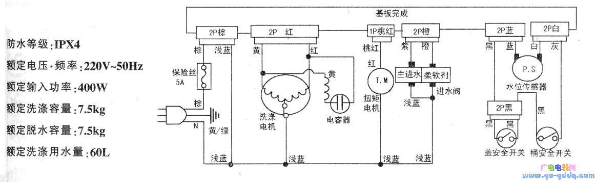 三洋xqb75-m1155洗衣机电路图