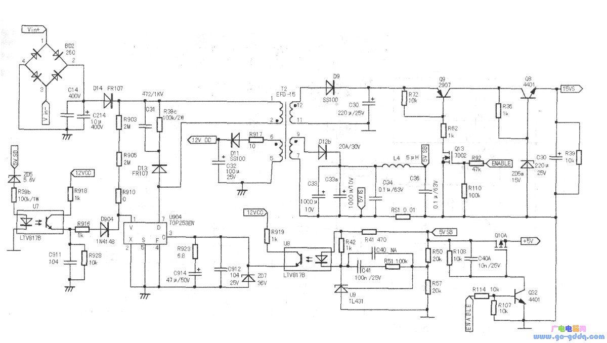 酷开a43电源板原理图