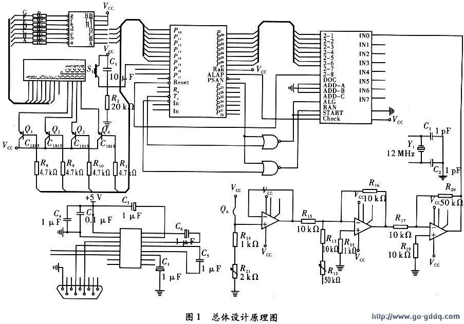 温度传感器采用ad590,温度的变化可以使其电流产生变化,且为线性