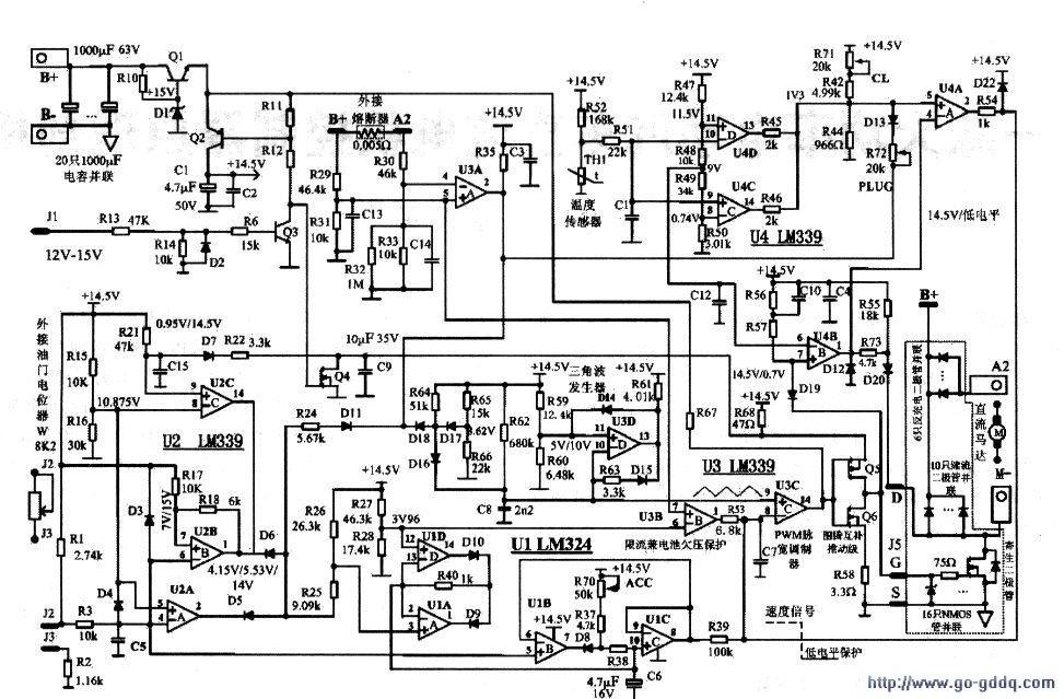 原装美国产大功率电动汽车速度控制器电路原理图