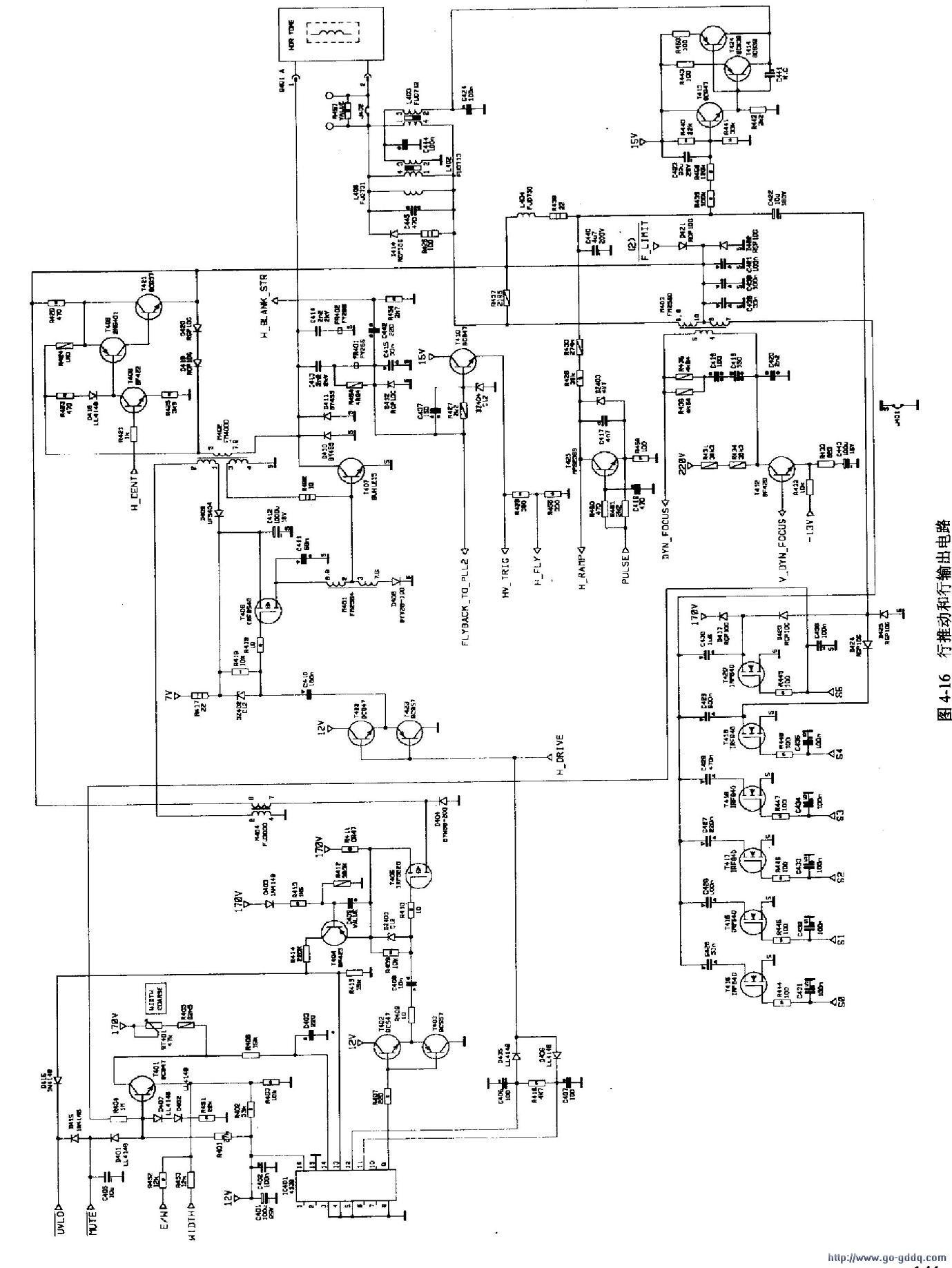 445p彩色显示器行扫描电路分析