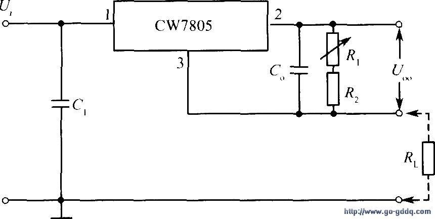 用cw7805构成的输出电流可调的恒流源电路