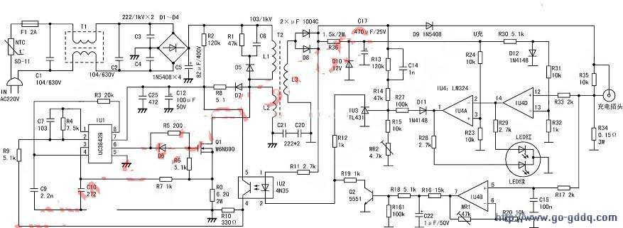 用UC38423842B组成的电动车充电器图纸电路与不v图纸a图纸样板房图片