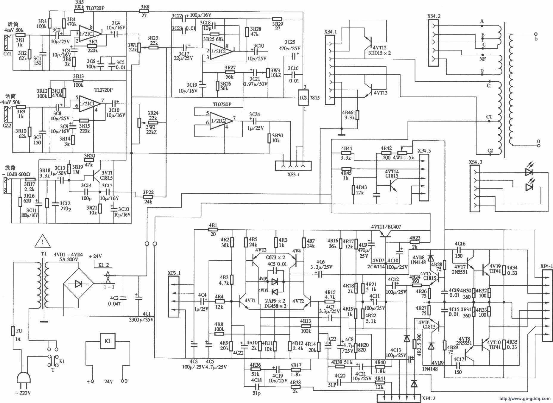 lynp-25wⅢ型扩音机电路图-技术资讯